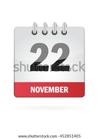 November Twenty Two. Calendar Icon - stock vector