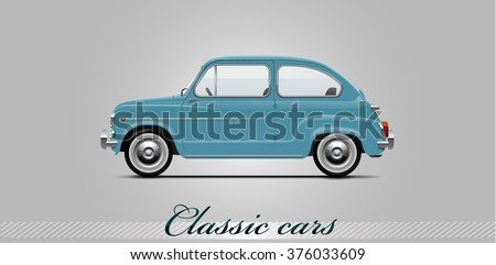 NOVI SAD, SERBIA - JANUARY 11, 2016: Vector illustration of Fiat 500  1957 - 1975,  eps10, vector, illustrative editorial - stock vector