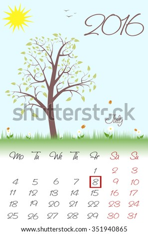 Novosibirsk, Russia - December 16,: Calendar for 2016. Flat style. The vector image.