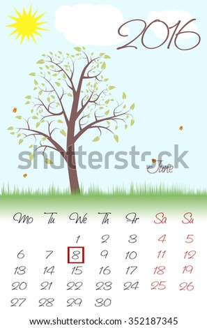 Novosibirsk, Russia - December 16: Calendar for 2016. Flat style. The vector image.