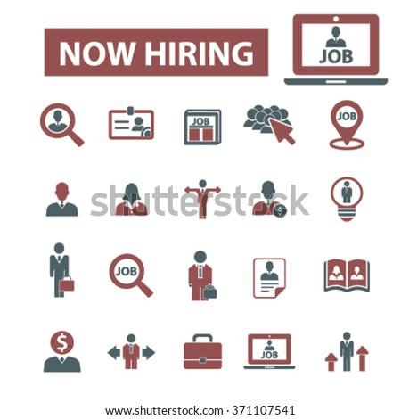 now hiring, career, human resources, job, cv icons set  - stock vector