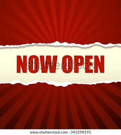 Now open banner - stock vector