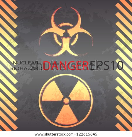 Nuclear and biohazard danger background - stock vector