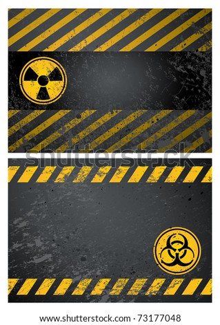 nuclear and biohazard danger warning background - stock vector