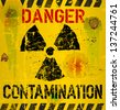 nuclear contamination warning sign, vector illustration - stock photo