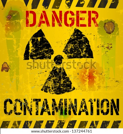 nuclear contamination warning sign, vector illustration - stock vector