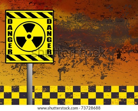 Nuclear danger warning in front of grunge background, vector illustration - stock vector