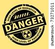 Nuclear danger warning stamp, vector illustration - stock