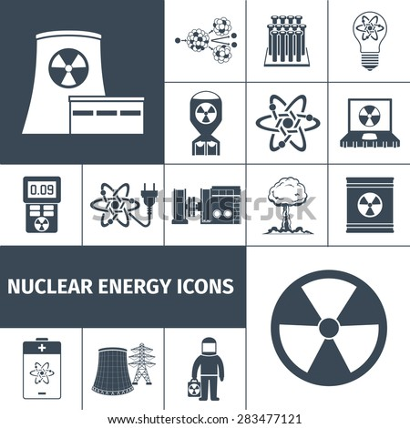 Nuclear energy plant products black icons set with mushroom cloud and radioactivity sign abstract isolated vector illustration - stock vector