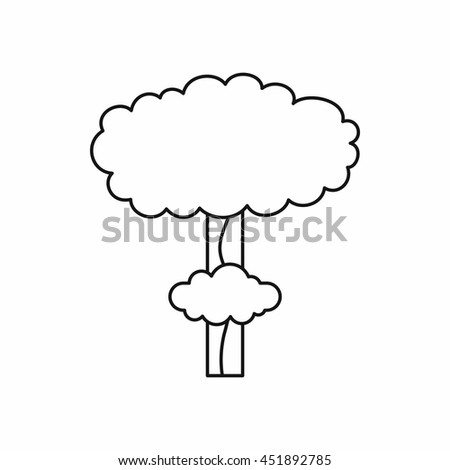 Nuclear explosion icon in outline style isolated vector illustration - stock vector