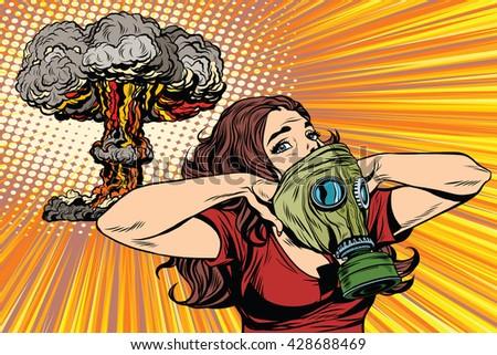 Nuclear explosion radiation hazard gas mask girl - stock vector