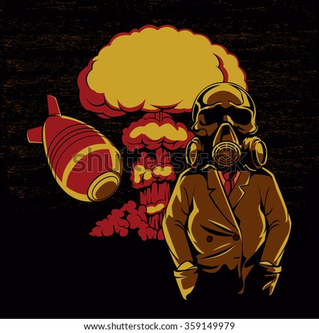 Nuclear explosion ,Skull Gas Mask Illustration,hydrogen bomb  - stock vector