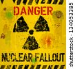 nuclear fallout warning sign,vector illustration - stock vector