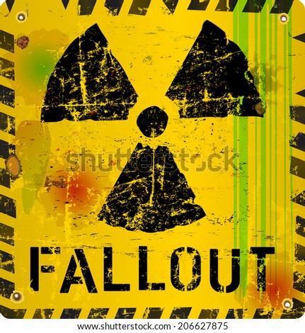 nuclear fallout warning sign, vector illustration - stock vector