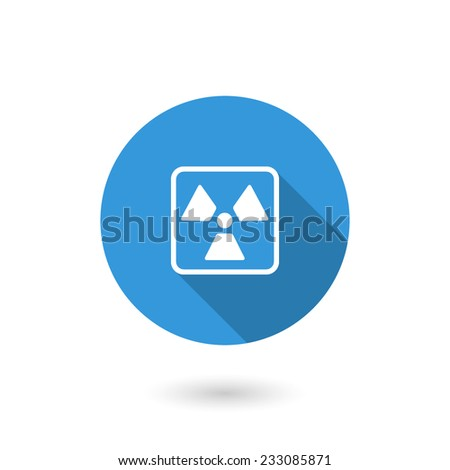 Nuclear icon. Flat design style modern vector illustration. Isolated on white color background. Flat long shadow icon. Elements in flat design - stock vector