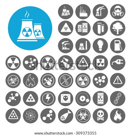 Nuclear icons set. Illustration EPS10 - stock vector