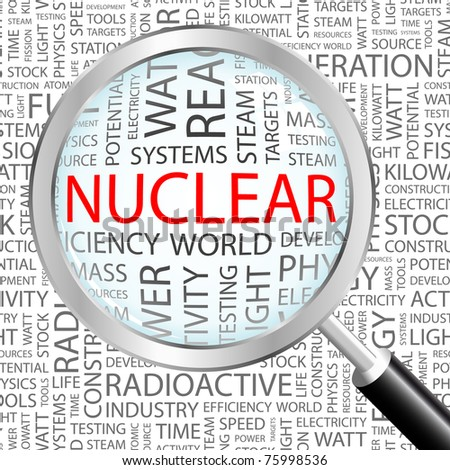 Nuclear. Magnifying glass over background with different association terms. Vector illustration.