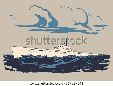 Nuclear military submarine floating up to the water surface vector illustration - stock vector