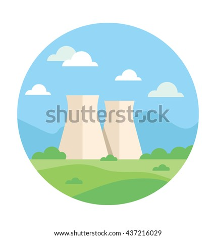 Nuclear Plant Vector Icon