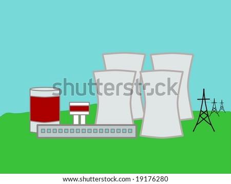 Nuclear power plant - stock vector