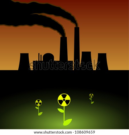 Nuclear power plant, environmental contamination,radioactive flowers - stock vector