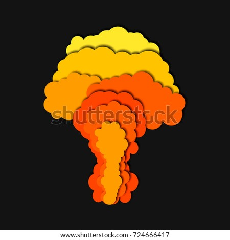 Explosion Template | Nuclear Power Plant Explosion Isolated 3d Stock Vector 724666417