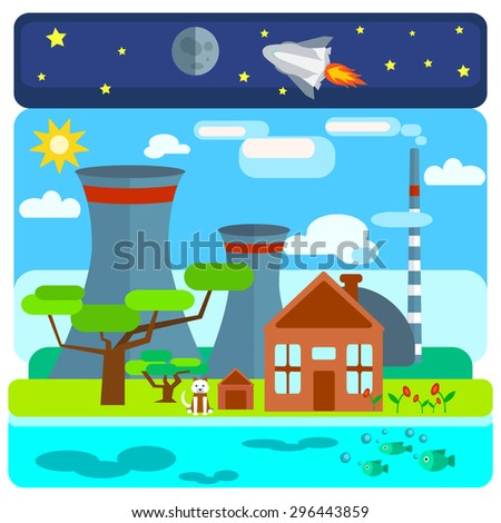 Nuclear power plant on nature background with different ecological structures, water, space, land. The house, the trees, the dog. Vector illustrations - stock vector