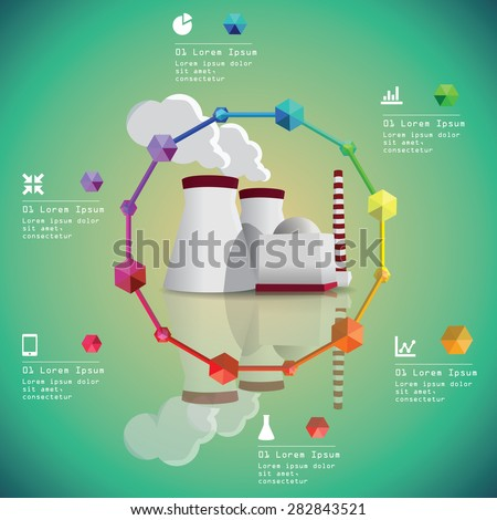 Nuclear power plant vector image. Energy industry infographic - stock vector