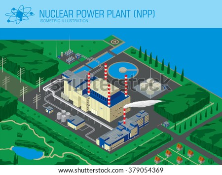Nuclear Power Plant with rural landscape, the village and the pond. isometric view from above. 3d style vector illustration - stock vector