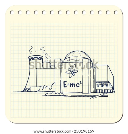 Nuclear power station as an example of relatively clean but potentially risky way of generating electricity. EPS8 vector illustration in a sketchy style imitating scribbling in the notebook or diary. - stock vector