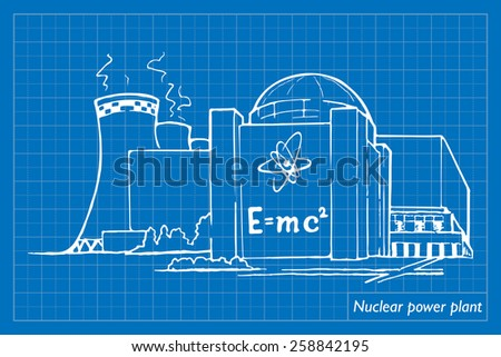 Nuclear power station as an example of relatively clean but potentially risky way of generating electricity. EPS10 vector illustration imitating blueprint style scribbling with white marker. - stock vector