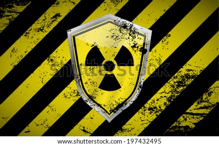 Nuclear shield vector background with grunge elements