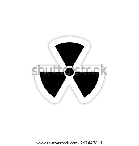 Nuclear sign icon on a white background with shadow  - stock vector