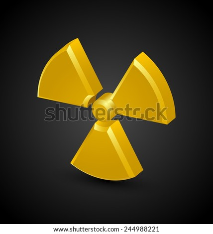 Nuclear symbol isolated on black background - stock vector
