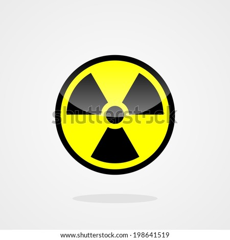 Nuclear symbol isolated on grey background. sign of radiation - stock vector