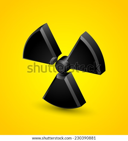 Nuclear symbol isolated on yellow background - stock vector
