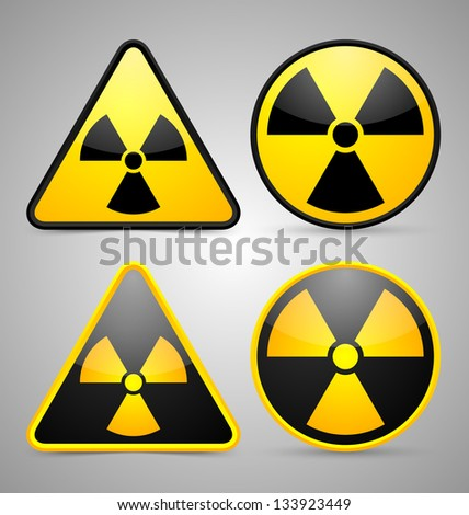 Nuclear symbols isolated on grey background - stock vector