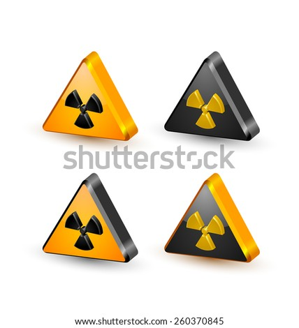 Nuclear symbols isolated on white background - stock vector