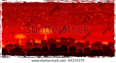 Nuclear war - atom bombs falling on the doomed city (white frame can be removed by disabling the corresponding layer, other landscapes are in my gallery) - stock vector