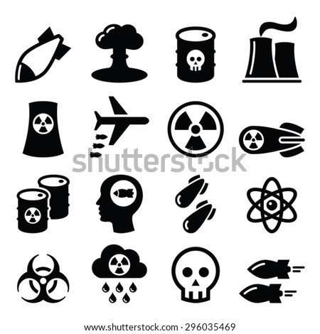 Nuclear weapon, nuclear factory, war, bombs icons set  - stock vector