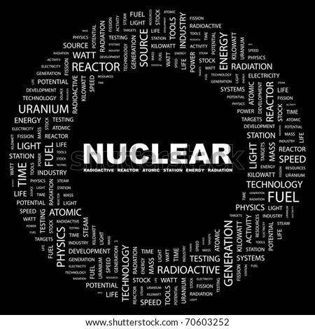 NUCLEAR. Word collage on black background. Illustration with different association terms. - stock vector