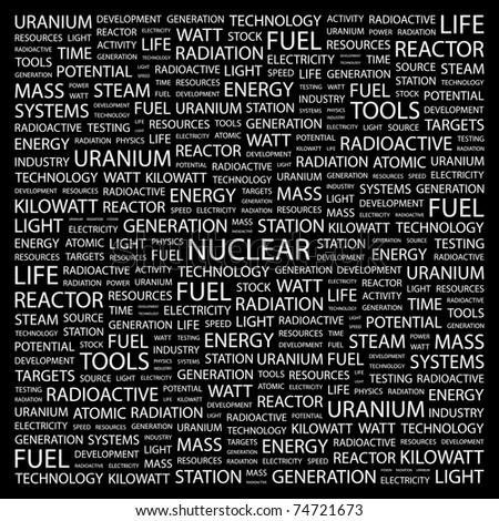 NUCLEAR. Word collage on black background. Vector illustration. Illustration with different association terms.