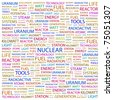 NUCLEAR. Word collage on white background. Vector illustration. Illustration with different association terms. - stock vector