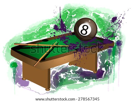 number 8. billiard ball on abstract grunge background