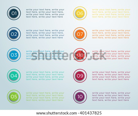 Number Bullet Points 1 to 10 B - stock vector