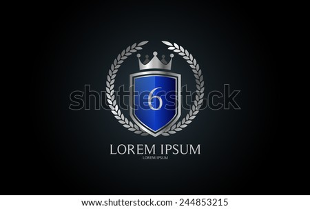 Number 6 crest logo. Vector logotype design. - stock vector