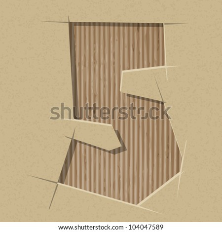 Number 5 cut out on a cardboard. Vector paper alphabet - stock vector