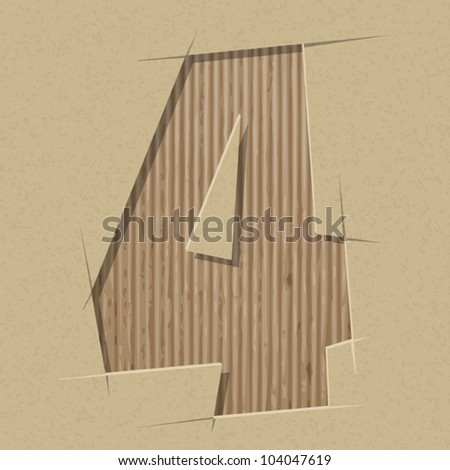 Number 4 cut out on a cardboard. Vector paper alphabet - stock vector
