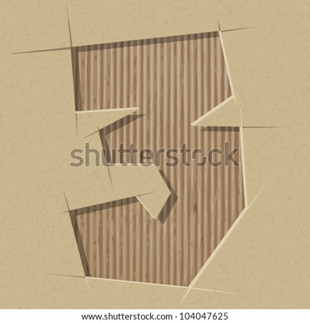 Number 3 cut out on a cardboard. Vector paper alphabet - stock vector