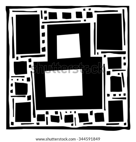 Number eight as abstract woodcut style pattern. Vector design element illustration - stock vector